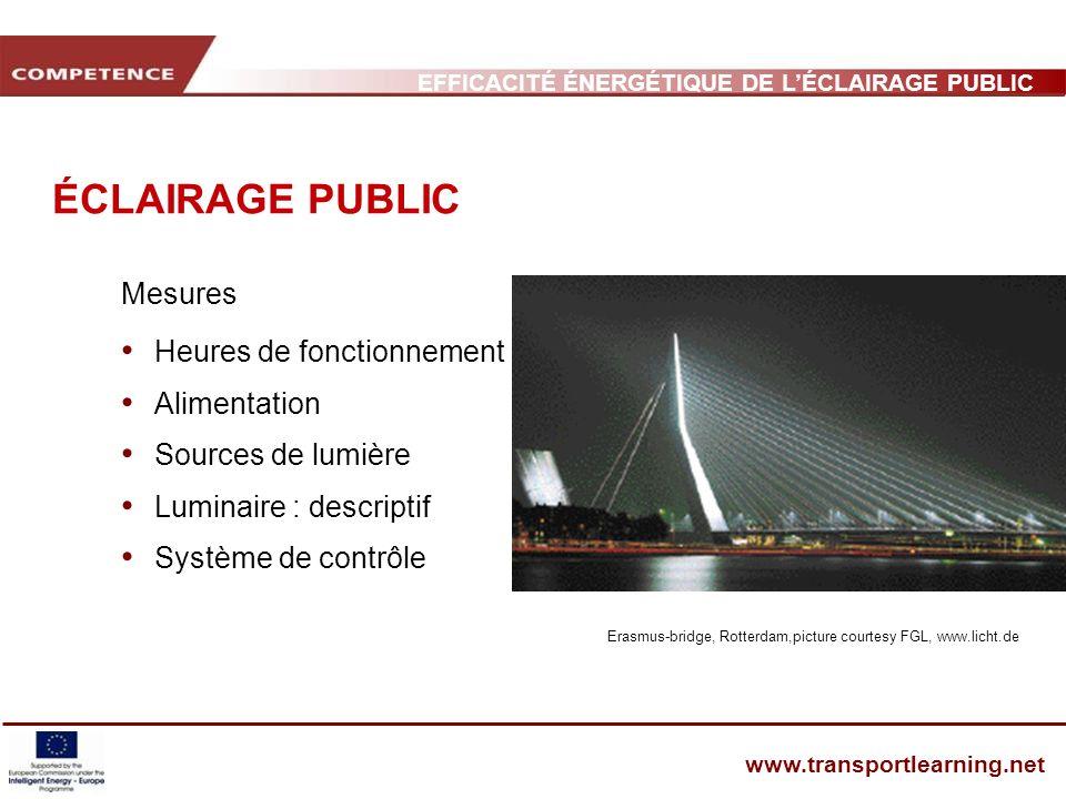 EFFICACITÉ ÉNERGÉTIQUE DE LÉCLAIRAGE PUBLIC ET INFRASTRUCTURE DES TRANSPORTS www.transportlearning.net ÉCLAIRAGE PUBLIC Mesures Heures de fonctionneme