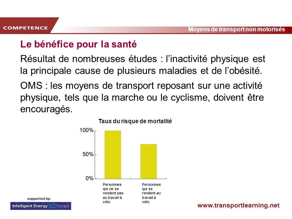www.transportlearning.net Moyens de transport non motorisés Le bénéfice pour la santé Résultat de nombreuses études : linactivité physique est la prin