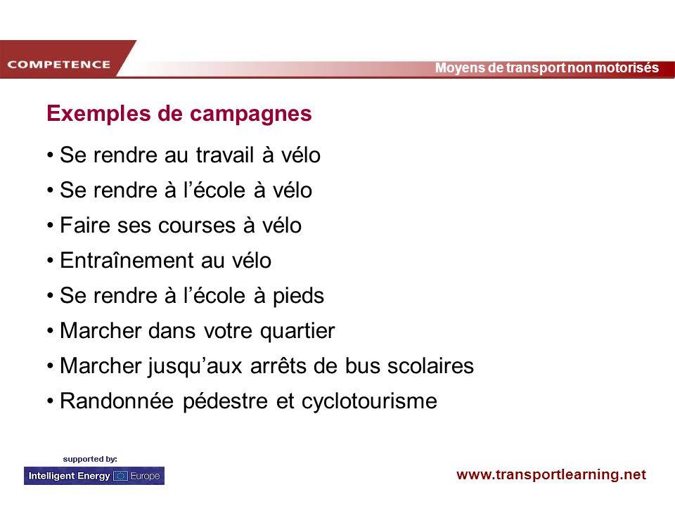 www.transportlearning.net Moyens de transport non motorisés Exemples de campagnes Se rendre au travail à vélo Se rendre à lécole à vélo Faire ses cour