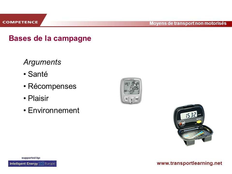 www.transportlearning.net Moyens de transport non motorisés Bases de la campagne Arguments Santé Récompenses Plaisir Environnement