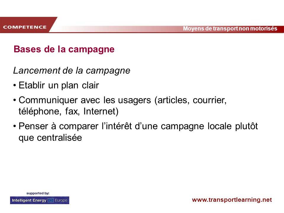 www.transportlearning.net Moyens de transport non motorisés Bases de la campagne Lancement de la campagne Etablir un plan clair Communiquer avec les u