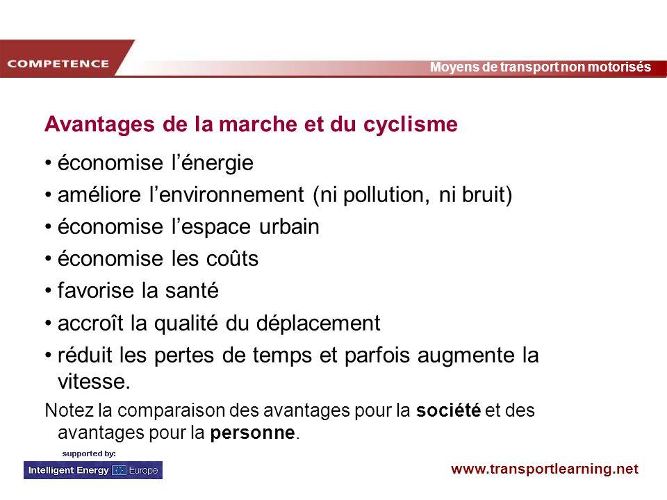 www.transportlearning.net Moyens de transport non motorisés Avantages de la marche et du cyclisme économise lénergie améliore lenvironnement (ni pollu