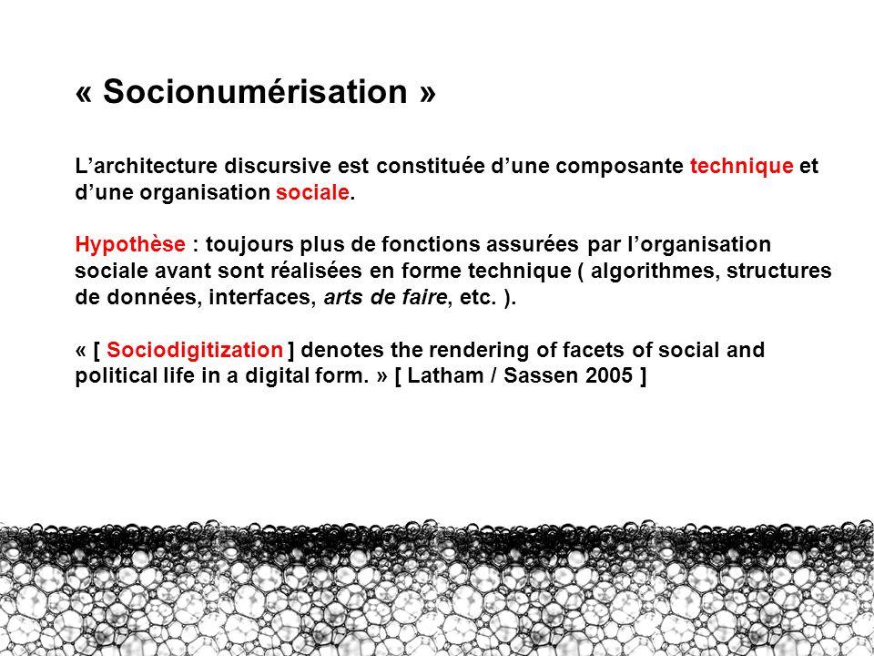 I – Socionumérisation « Socionumérisation » Larchitecture discursive est constituée dune composante technique et dune organisation sociale. Hypothèse