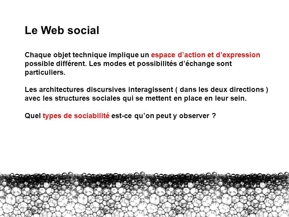 I – Le Web social 2 Le Web social Chaque objet technique implique un espace daction et dexpression possible différent. Les modes et possibilités décha