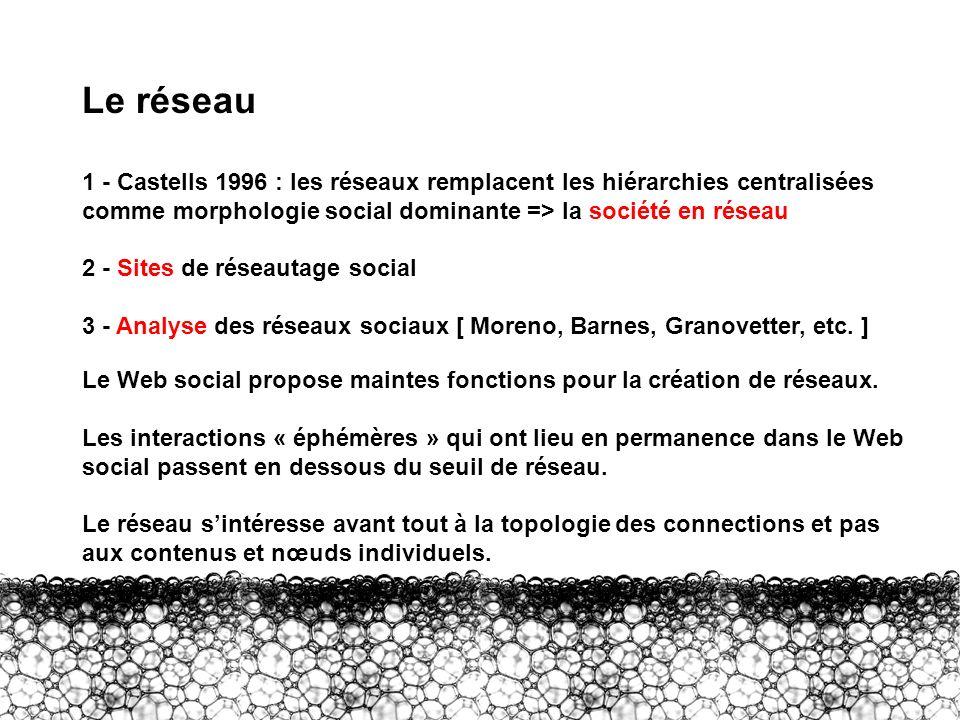 II – Réseau Le réseau 1 - Castells 1996 : les réseaux remplacent les hiérarchies centralisées comme morphologie social dominante => la société en rése