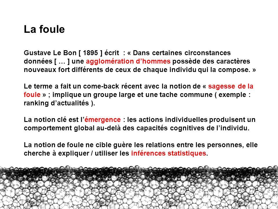 II – Foule La foule Gustave Le Bon [ 1895 ] écrit : « Dans certaines circonstances données [ … ] une agglomération dhommes possède des caractères nouv