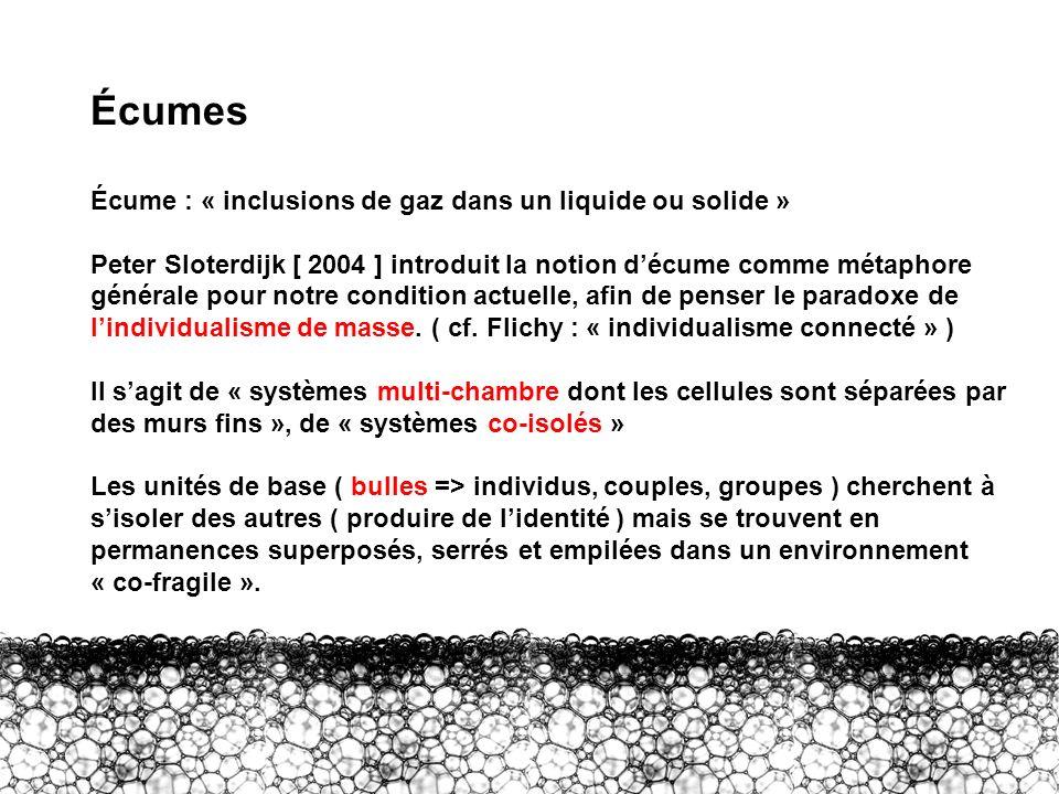 III – Écumes Écumes Écume : « inclusions de gaz dans un liquide ou solide » Peter Sloterdijk [ 2004 ] introduit la notion décume comme métaphore génér