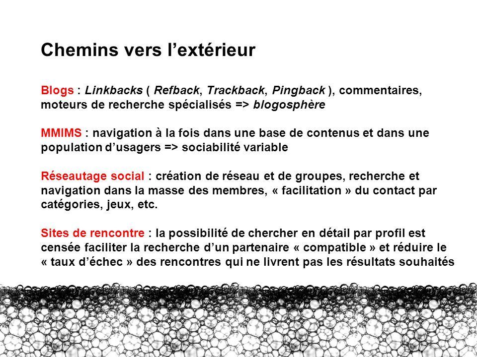 III – Chemins vers lextérieur Chemins vers lextérieur Blogs : Linkbacks ( Refback, Trackback, Pingback ), commentaires, moteurs de recherche spécialis