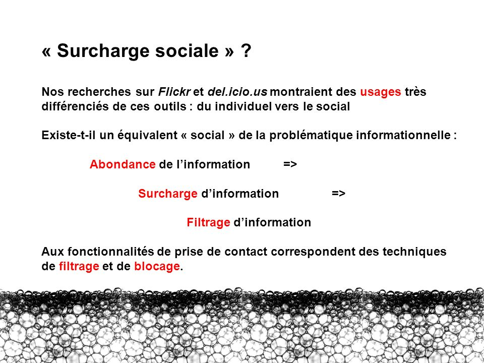 III – Surcharge sociale « Surcharge sociale » ? Nos recherches sur Flickr et del.icio.us montraient des usages très différenciés de ces outils : du in
