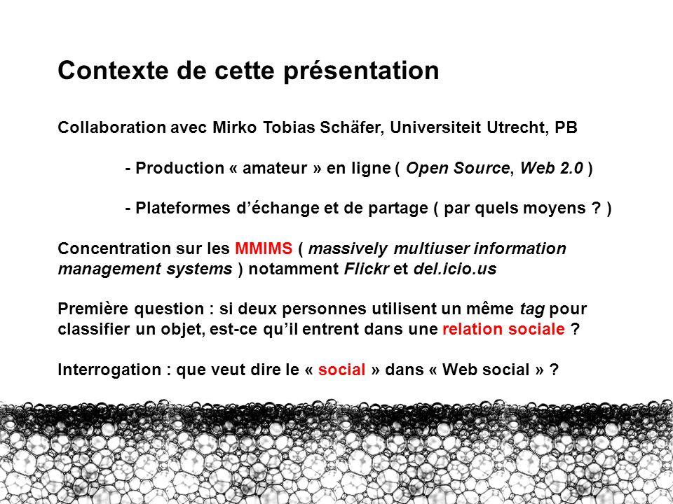 Intro – Contexte Contexte de cette présentation Collaboration avec Mirko Tobias Schäfer, Universiteit Utrecht, PB - Production « amateur » en ligne (