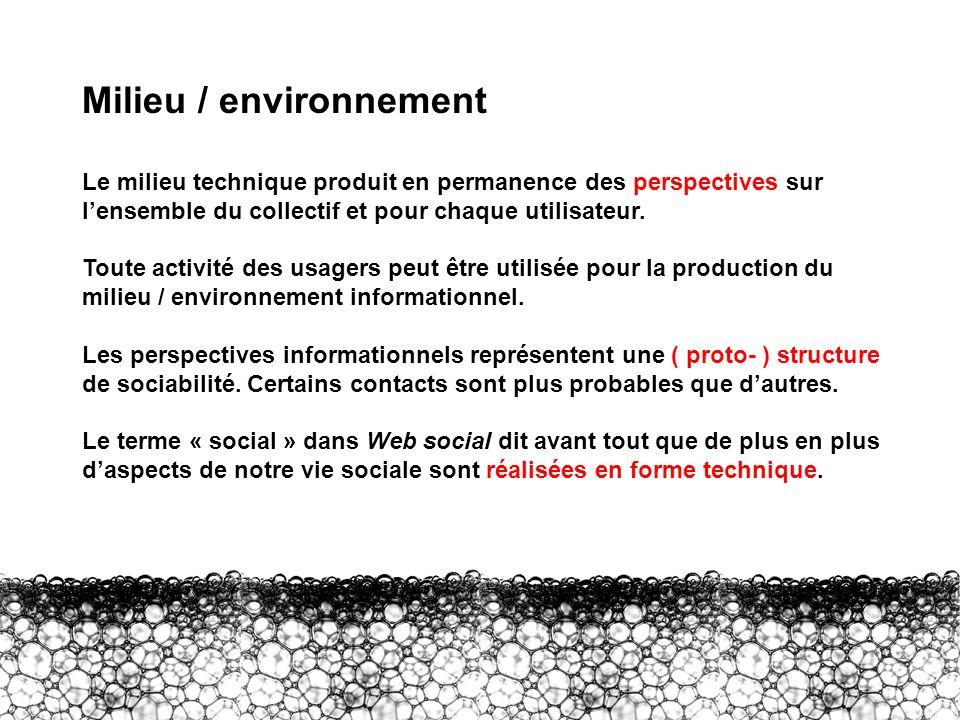 III – Milieu Milieu / environnement Le milieu technique produit en permanence des perspectives sur lensemble du collectif et pour chaque utilisateur.