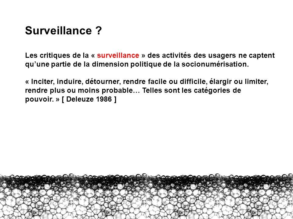 III – Surveillance ? Surveillance ? Les critiques de la « surveillance » des activités des usagers ne captent quune partie de la dimension politique d