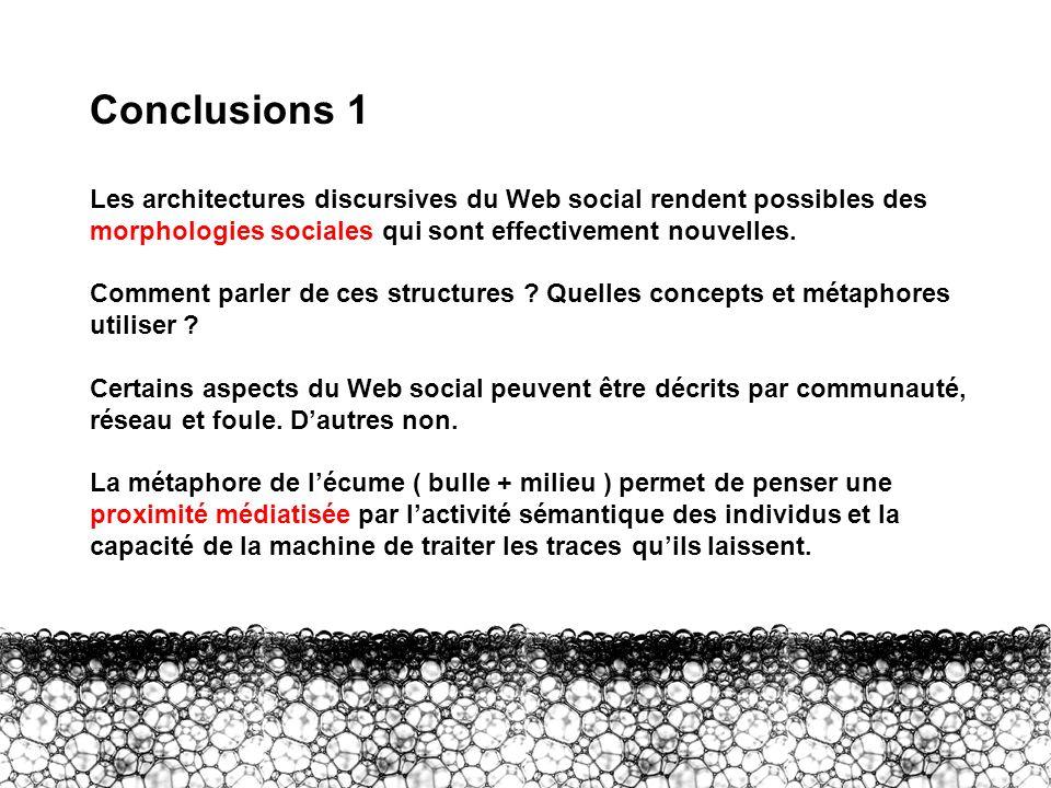 Conclusions 1 Les architectures discursives du Web social rendent possibles des morphologies sociales qui sont effectivement nouvelles. Comment parler
