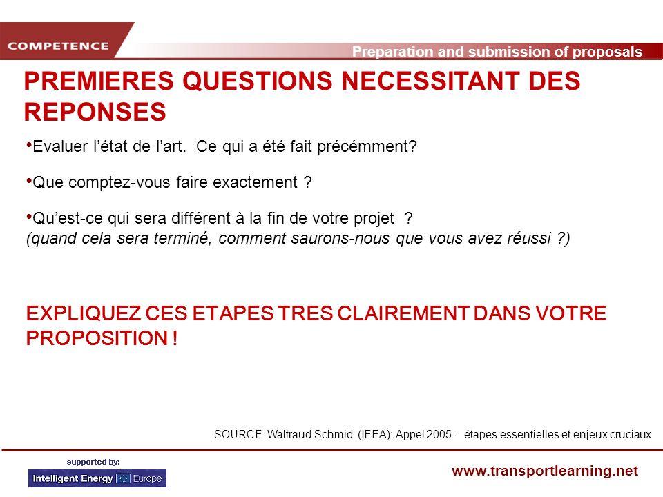 Preparation and submission of proposals www.transportlearning.net PREMIERES QUESTIONS NECESSITANT DES REPONSES Evaluer létat de lart.