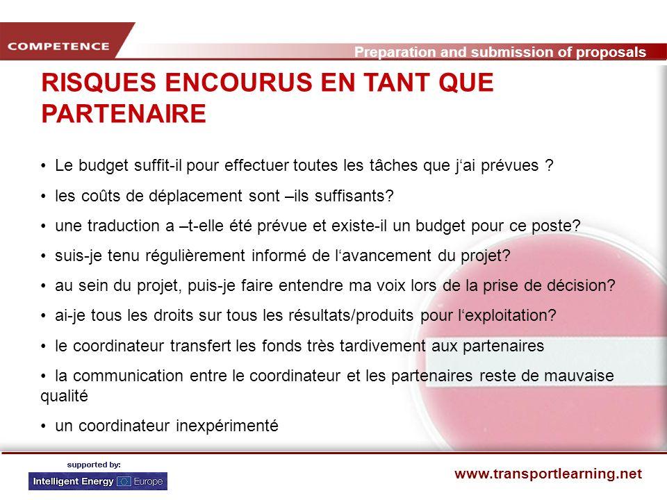 Preparation and submission of proposals www.transportlearning.net OPPORTUNITES AU DEBUT Le texte de lappel correspond bien à lidée que je me fais du projet le cofinancement est déjà arrêté.