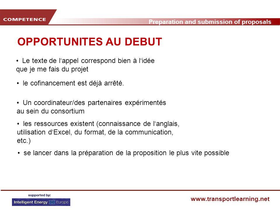 Preparation and submission of proposals www.transportlearning.net CALENDRIER POUR LA PREPARATION DUNE PROPOSITION (1) PhaseEtapes Décision: Coordination / Partenaire 3.