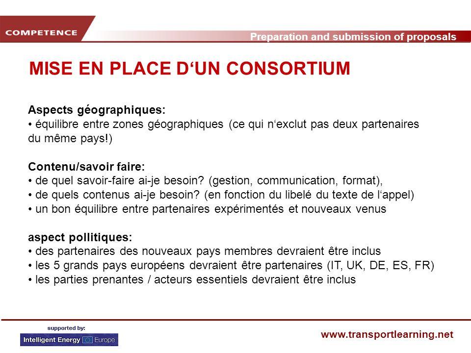 Preparation and submission of proposals www.transportlearning.net CALENDRIER POUR LA PREPARATION DUNE PROPOSITION (2) PhaseEtapes Contrôle qualité 1 8.