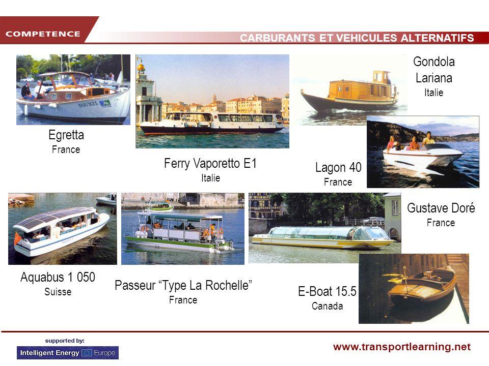 CARBURANTS ET VEHICULES ALTERNATIFS www.transportlearning.net Aquabus 1 050 Suisse Egretta France Gustave Doré France Ferry Vaporetto E1 Italie Lagon
