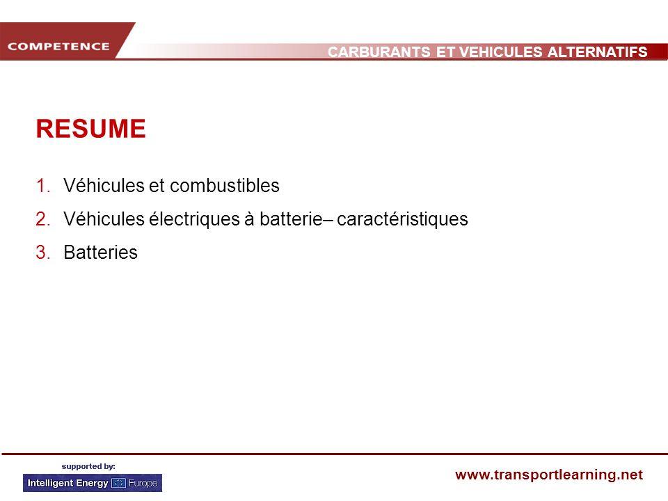 CARBURANTS ET VEHICULES ALTERNATIFS www.transportlearning.net RESUME 1.Véhicules et combustibles 2.Véhicules électriques à batterie– caractéristiques