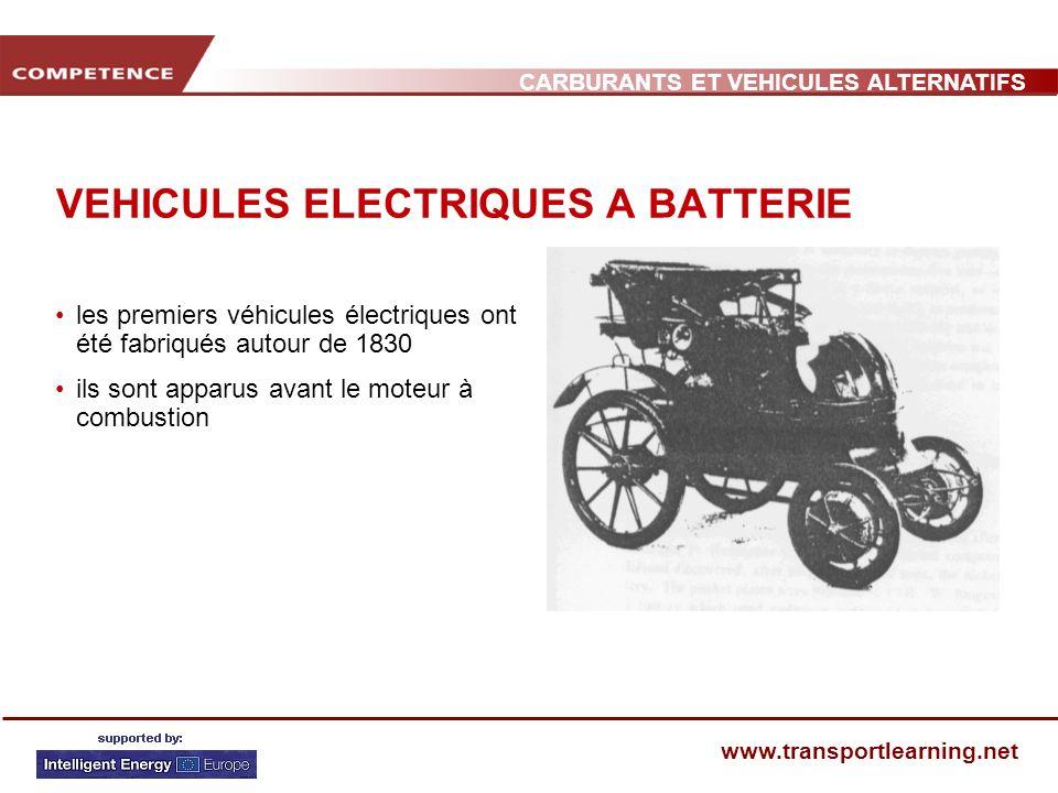CARBURANTS ET VEHICULES ALTERNATIFS www.transportlearning.net VEHICULES ELECTRIQUES A BATTERIE les premiers véhicules électriques ont été fabriqués au