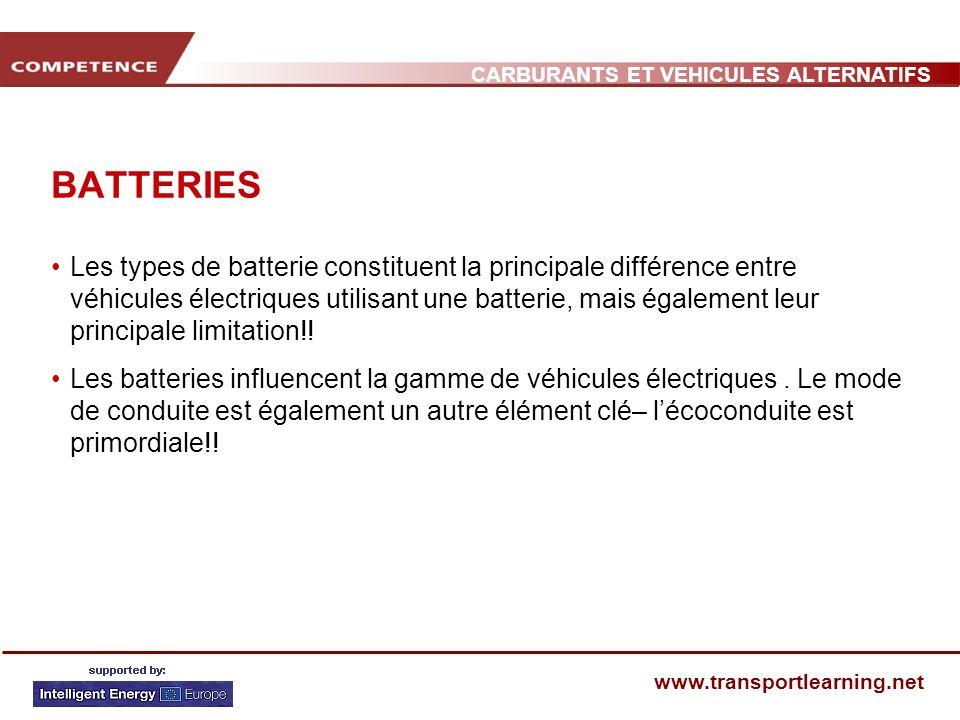 CARBURANTS ET VEHICULES ALTERNATIFS www.transportlearning.net BATTERIES Les types de batterie constituent la principale différence entre véhicules éle