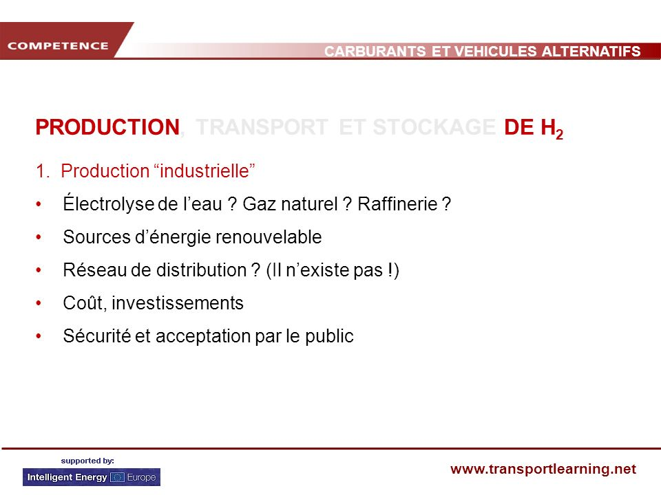 CARBURANTS ET VEHICULES ALTERNATIFS www.transportlearning.net PRODUCTION, TRANSPORT ET STOCKAGE DE H 2 1. Production industrielle Électrolyse de leau