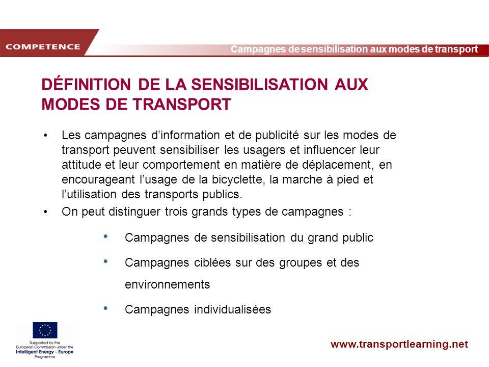 www.transportlearning.net Campagnes de sensibilisation aux modes de transport DÉFINITION DE LA SENSIBILISATION AUX MODES DE TRANSPORT Les campagnes di