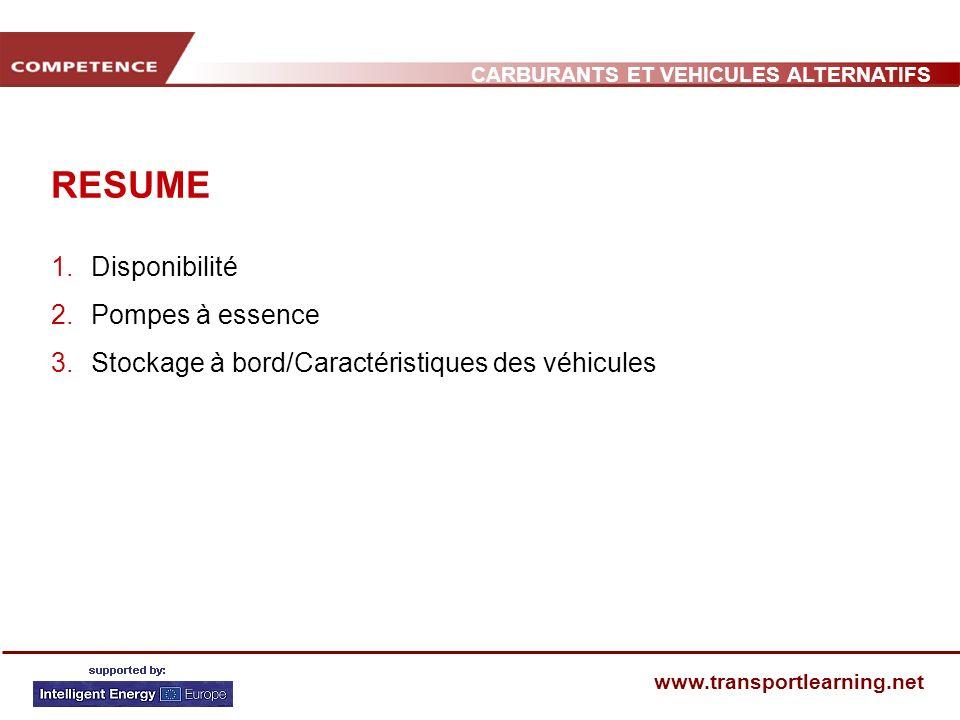 CARBURANTS ET VEHICULES ALTERNATIFS www.transportlearning.net RESUME 1.Disponibilité 2.Pompes à essence 3.Stockage à bord/Caractéristiques des véhicules