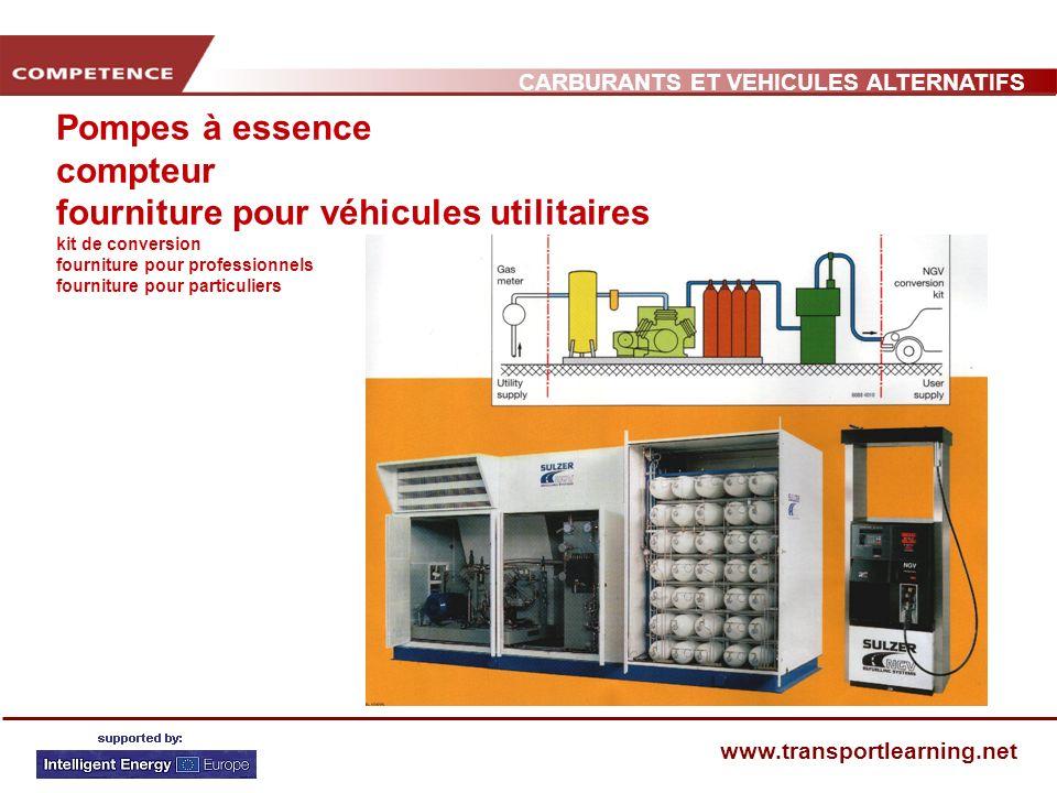 CARBURANTS ET VEHICULES ALTERNATIFS www.transportlearning.net Pompes à essence compteur fourniture pour véhicules utilitaires kit de conversion fourniture pour professionnels fourniture pour particuliers