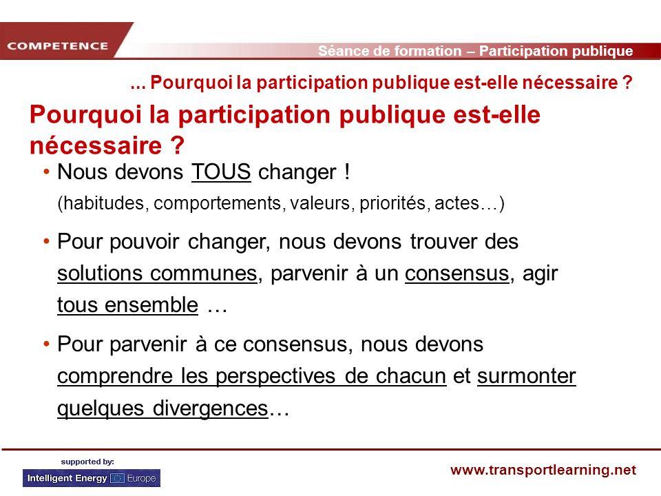 Séance de formation – Participation publique www.transportlearning.net Pourquoi la participation publique est-elle nécessaire ? Nous devons TOUS chang