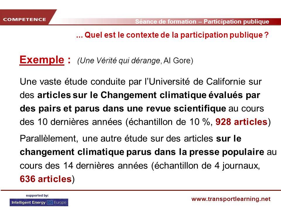 Séance de formation – Participation publique www.transportlearning.net Exemple : (Une Vérité qui dérange, Al Gore)...