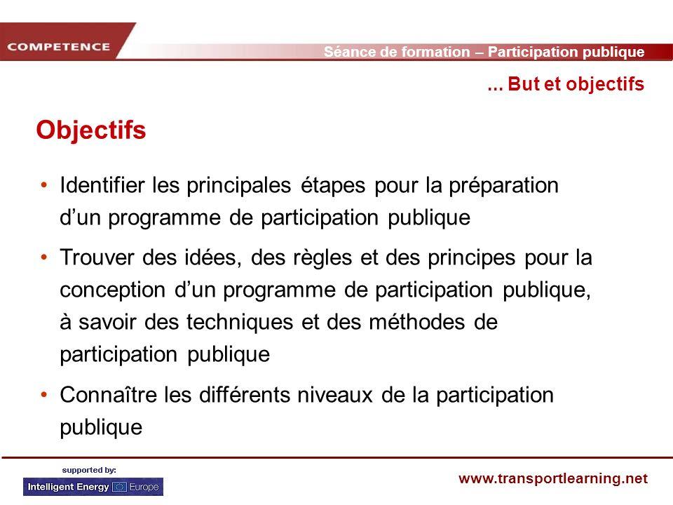 Séance de formation – Participation publique www.transportlearning.net Objectifs... But et objectifs Identifier les principales étapes pour la prépara