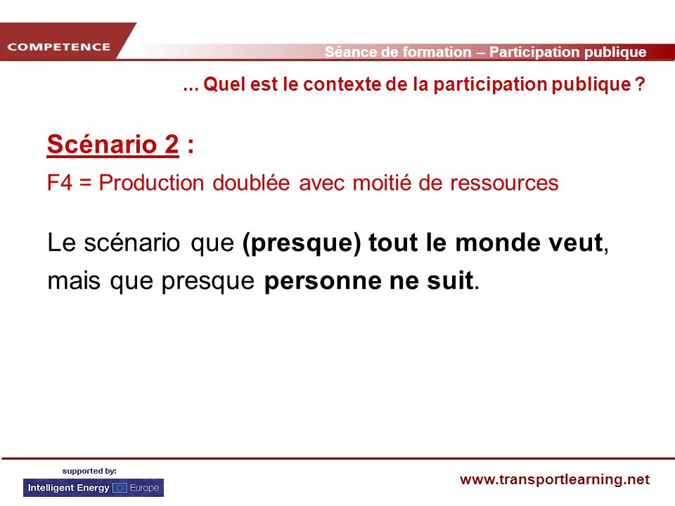 Séance de formation – Participation publique www.transportlearning.net Scénario 2 : F4 = Production doublée avec moitié de ressources...
