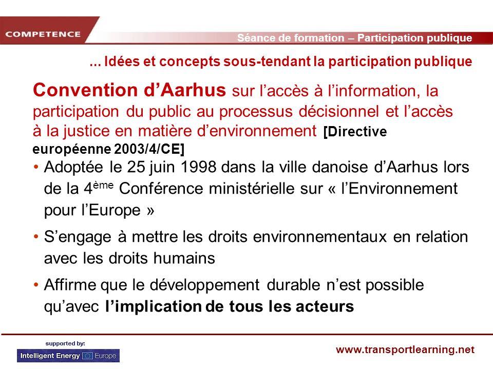 Séance de formation – Participation publique www.transportlearning.net Convention dAarhus sur laccès à linformation, la participation du public au pro