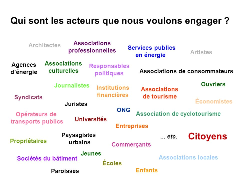 Séance de formation – Participation publique www.transportlearning.net Journalistes Institutions financières ONG Associations de consommateurs Associa