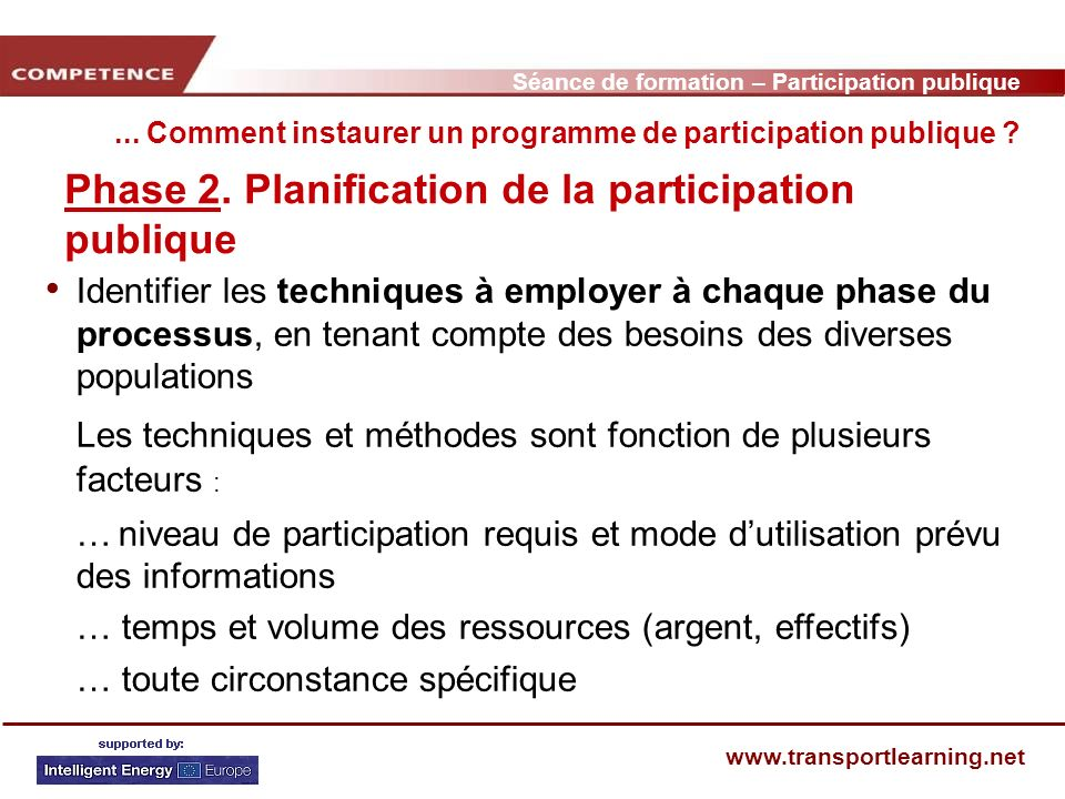 Séance de formation – Participation publique www.transportlearning.net... Comment instaurer un programme de participation publique ? Phase 2. Planific