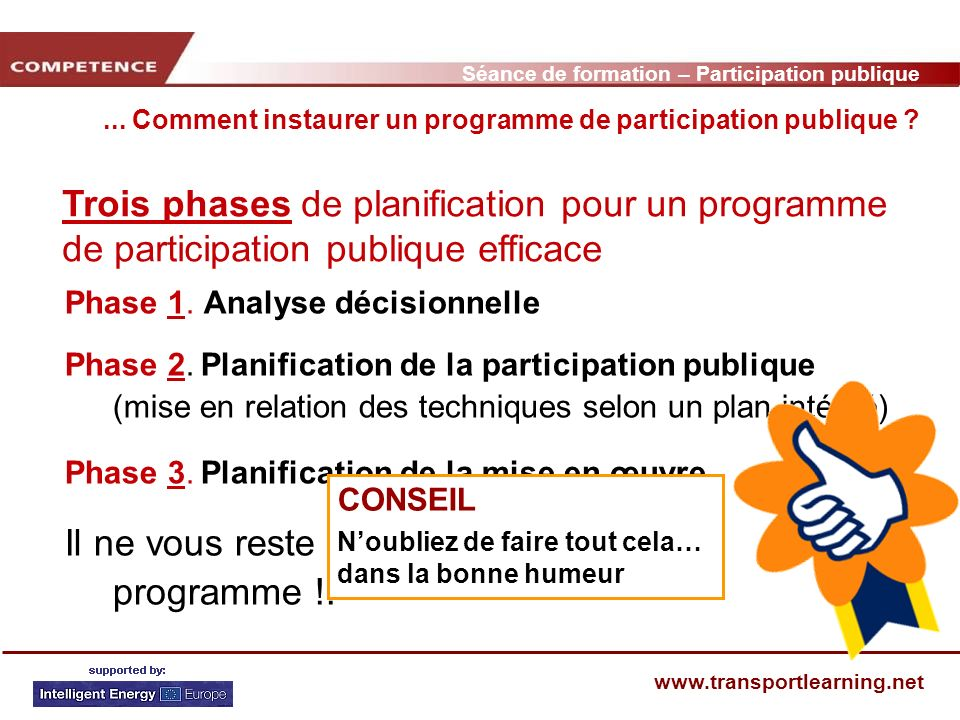 Séance de formation – Participation publique www.transportlearning.net... Comment instaurer un programme de participation publique ? Trois phases de p