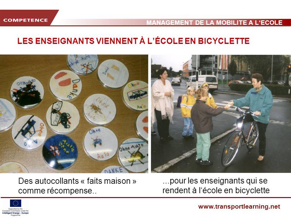 MANAGEMENT DE LA MOBILITE A LECOLE www.transportlearning.net LES ENSEIGNANTS VIENNENT À LÉCOLE EN BICYCLETTE Des autocollants « faits maison » comme récompense.....pour les enseignants qui se rendent à lécole en bicyclette