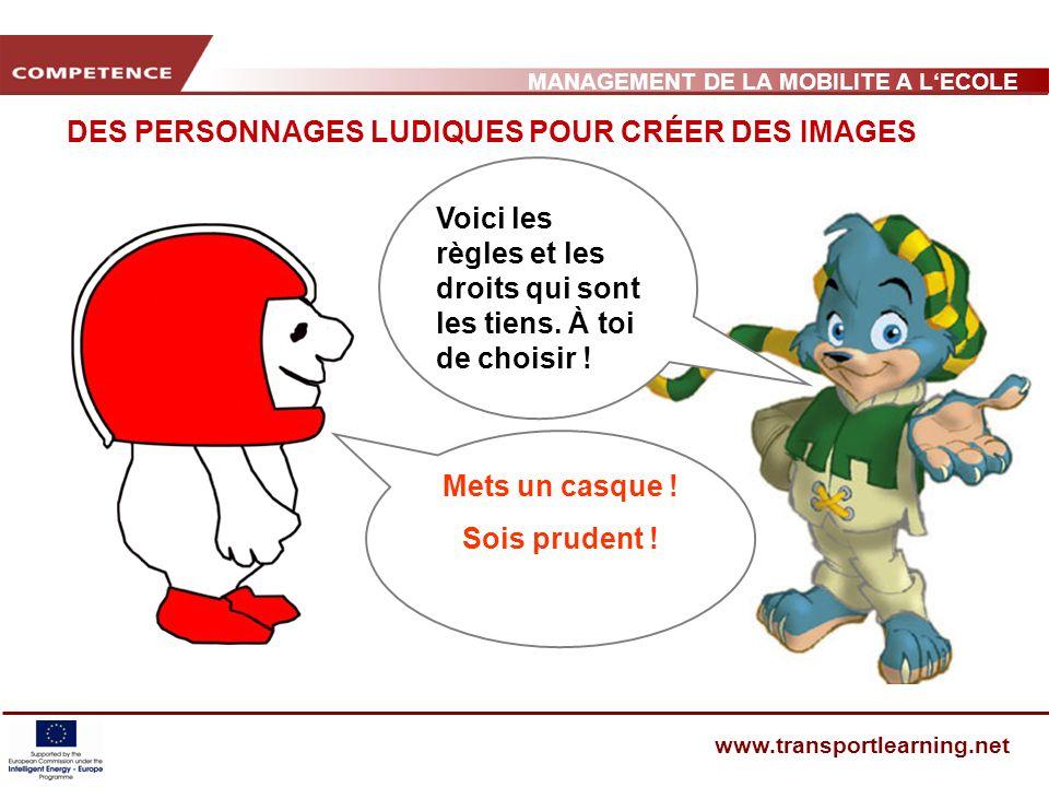 MANAGEMENT DE LA MOBILITE A LECOLE www.transportlearning.net DES PERSONNAGES LUDIQUES POUR CRÉER DES IMAGES Voici les règles et les droits qui sont les tiens.