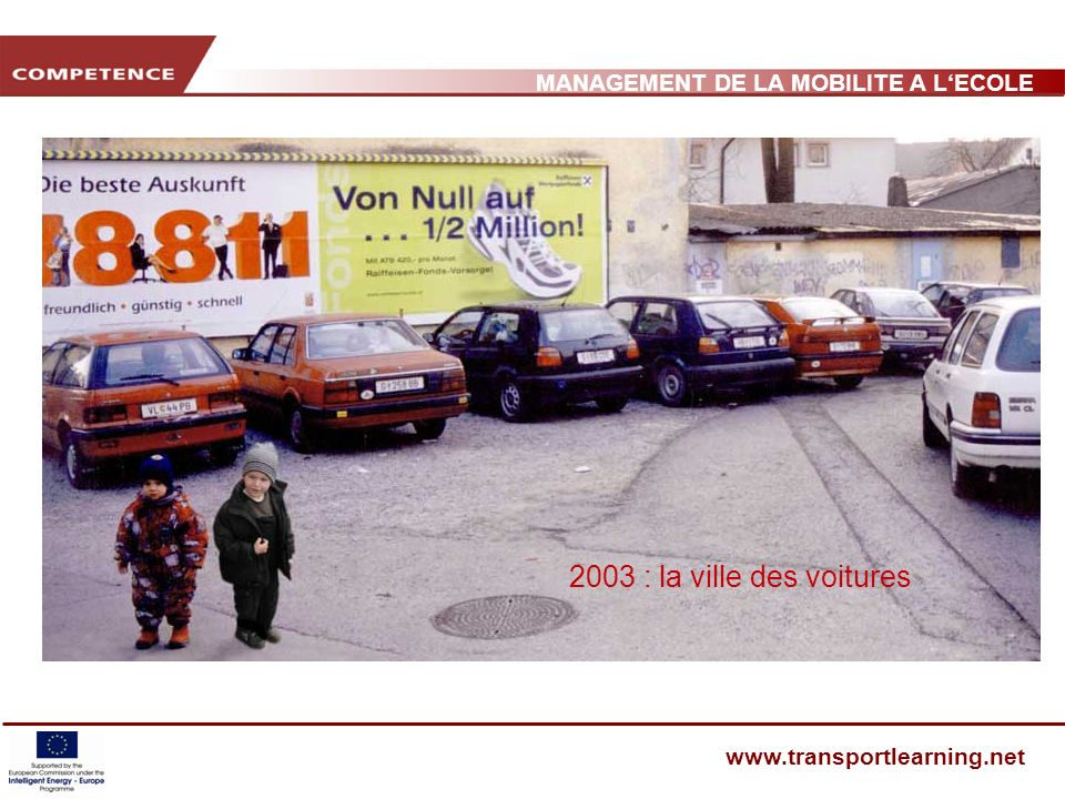 MANAGEMENT DE LA MOBILITE A LECOLE www.transportlearning.net 2003 : la ville des voitures