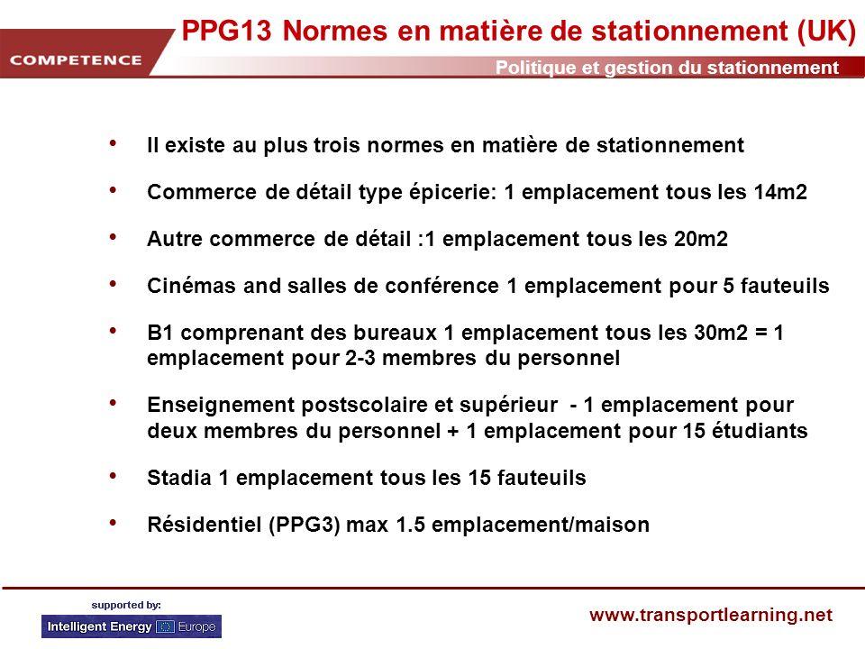 Politique et gestion du stationnement www.transportlearning.net PPG13 Normes en matière de stationnement (UK) II existe au plus trois normes en matièr