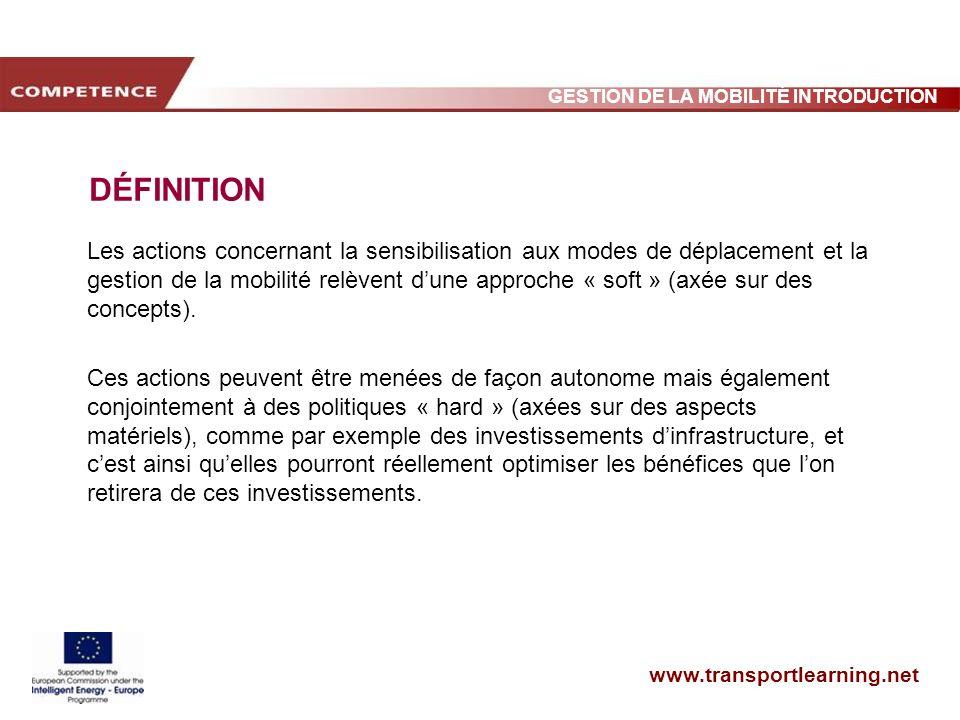 www.transportlearning.net GESTION DE LA MOBILITÉ INTRODUCTION DÉFINITION Les actions concernant la sensibilisation aux modes de déplacement et la gest