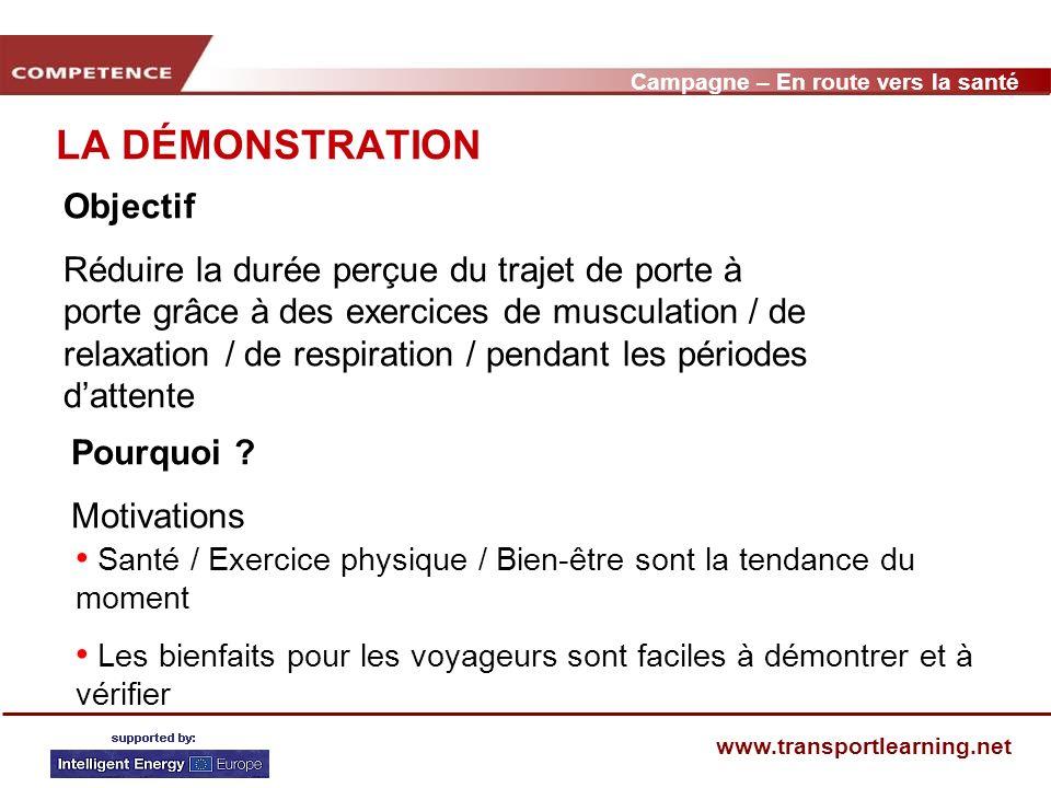 Campagne – En route vers la santé www.transportlearning.net LA DÉMONSTRATION Objectif Réduire la durée perçue du trajet de porte à porte grâce à des exercices de musculation / de relaxation / de respiration / pendant les périodes dattente Pourquoi .