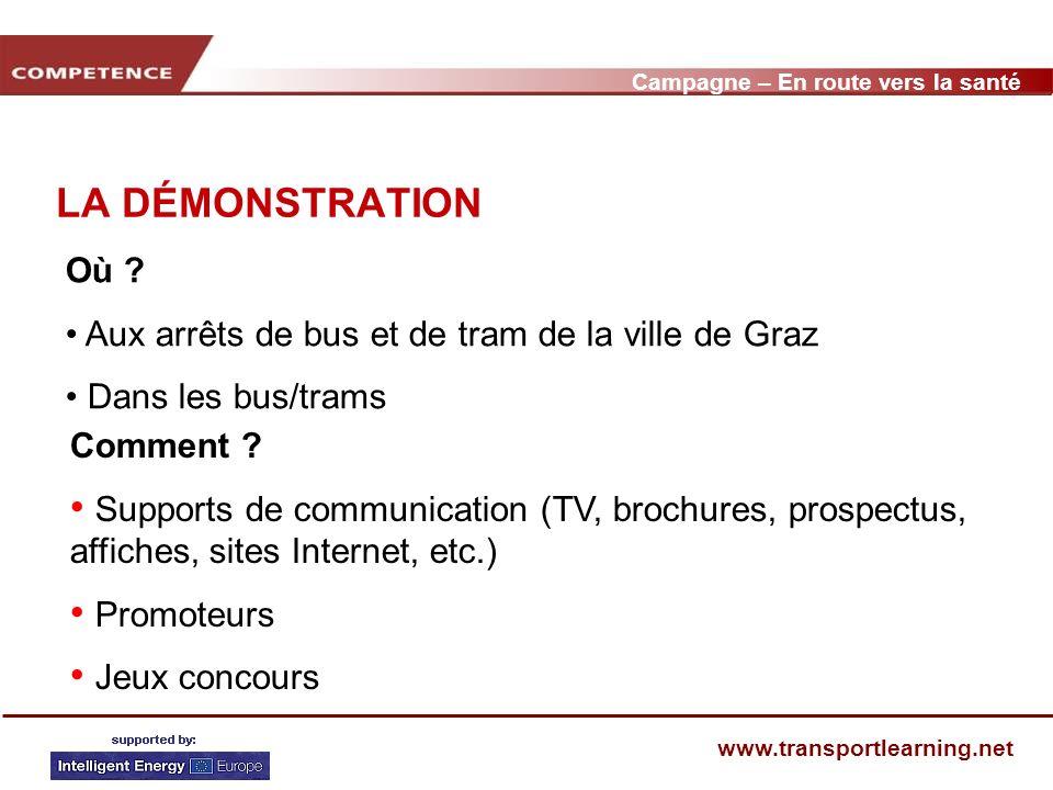 Campagne – En route vers la santé www.transportlearning.net EXEMPLE DARRÊT DE TP