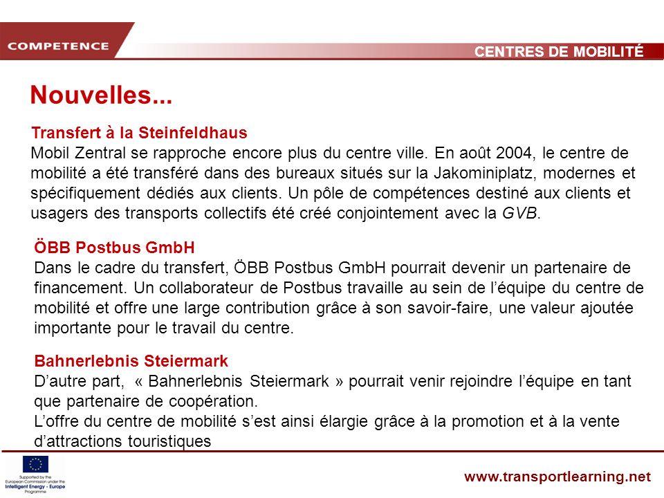 CENTRES DE MOBILITÉ www.transportlearning.net Nouvelles...