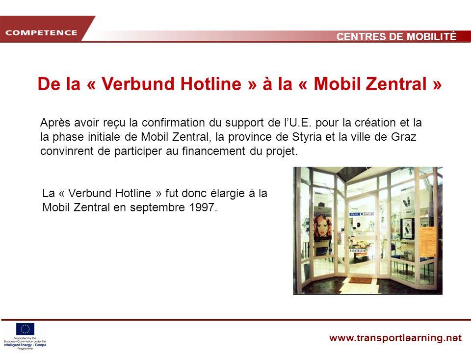 CENTRES DE MOBILITÉ www.transportlearning.net Après avoir reçu la confirmation du support de lU.E.