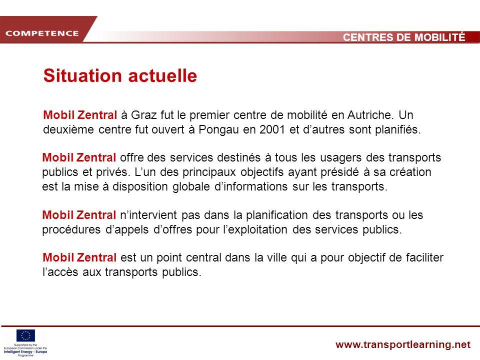 CENTRES DE MOBILITÉ www.transportlearning.net Mobil Zentral à Graz fut le premier centre de mobilité en Autriche.