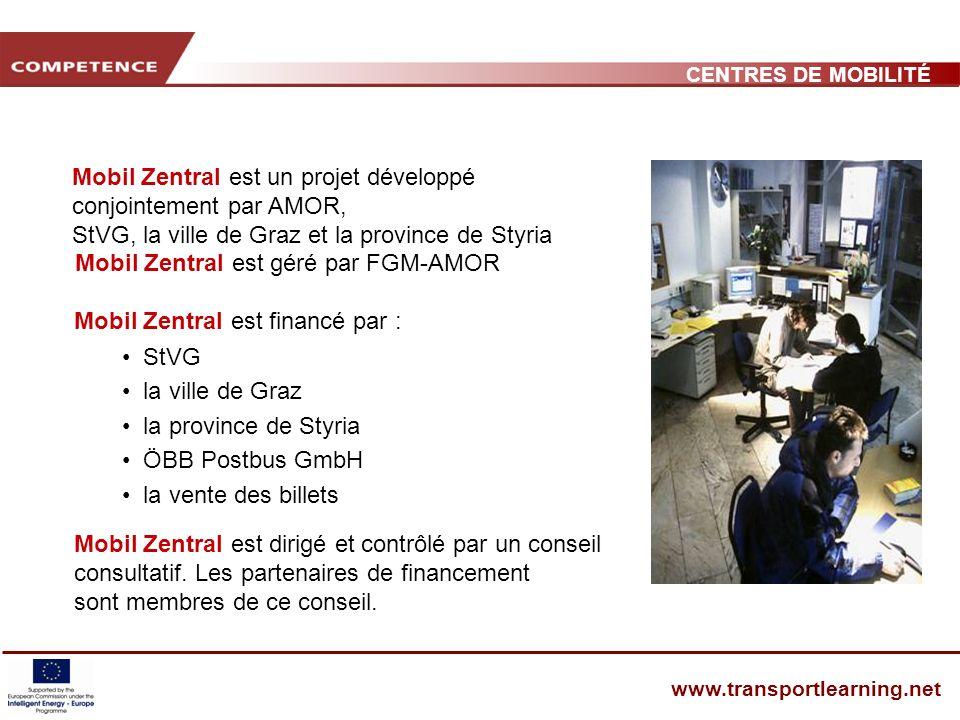 CENTRES DE MOBILITÉ www.transportlearning.net Mobil Zentral est un projet développé conjointement par AMOR, StVG, la ville de Graz et la province de Styria Mobil Zentral est dirigé et contrôlé par un conseil consultatif.