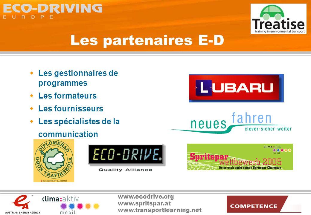 www.ecodrive.org www.spritspar.at www.transportlearning.net Les partenaires E-D Les gestionnaires de programmes Les formateurs Les fournisseurs Les sp