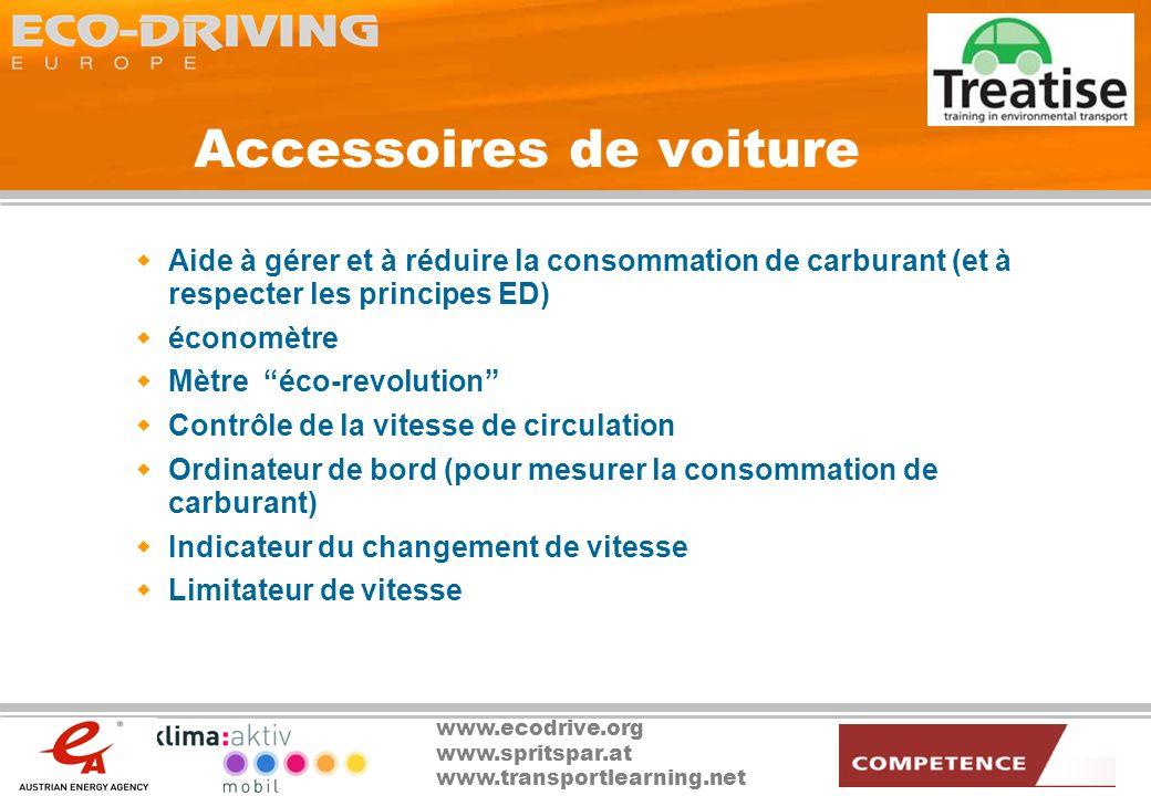 www.ecodrive.org www.spritspar.at www.transportlearning.net Accessoires de voiture Aide à gérer et à réduire la consommation de carburant (et à respec
